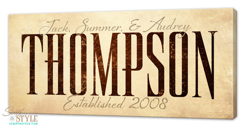 Personalized family name canvas, Tan