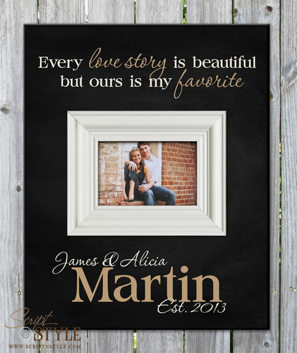 Personalized picture frame with quote, Black