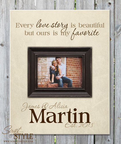 Personalized picture frame with quote, Cream