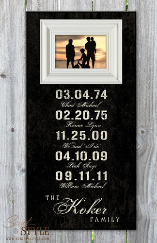 Personalized special dates picture frame, Black