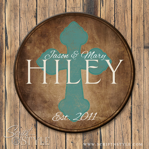 Family Name Sign with Cross-Brown/Turquoise
