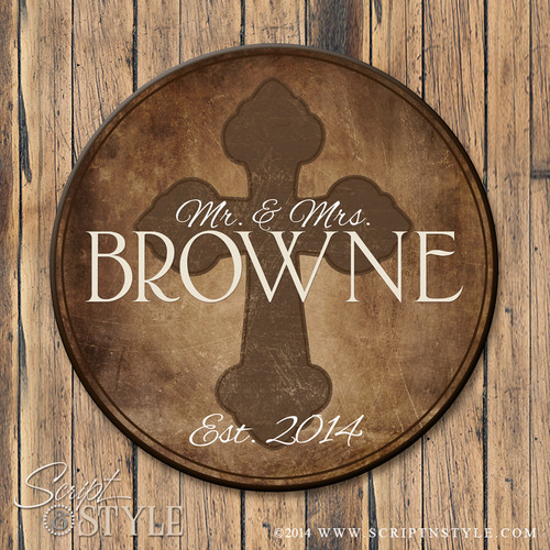 Family Name Sign with Cross-Brown/Tan