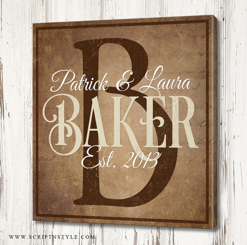 Personalized Family Name Canvas Sign