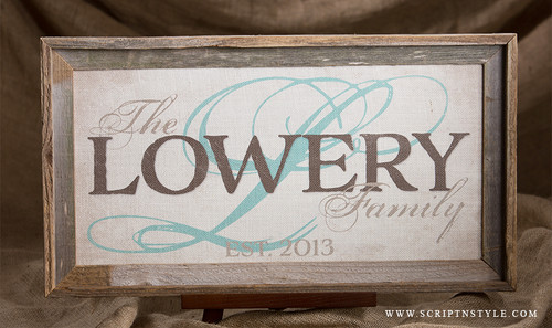 burlap family name sign