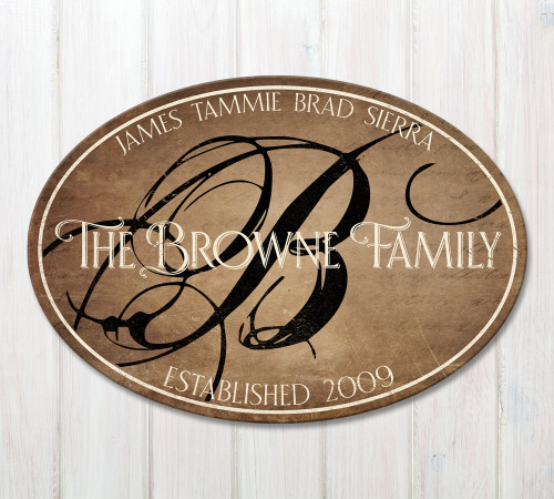 oval wood family plaque