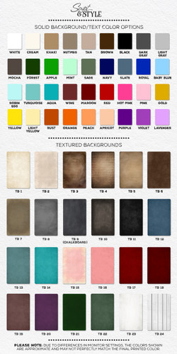 Personalized canvas color chart