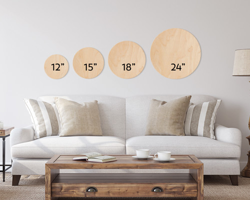 round wooden sign size chart