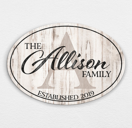 Wood family name sign