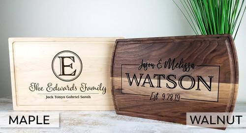 monogram wood cutting board