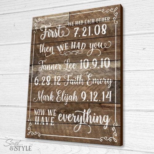 Personalized Wood Sign First We Had Each Other Now We Have Everything