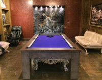 "The perfect edition to any home,office, or game room. This 1"" Slate Modern Pool Table at Sawyer Twain features a dining top option and includes FREE SHIPPING in the USA"