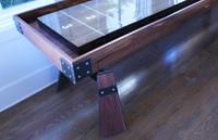 ARIE Shuffleboard Table in a Walnut Finish with a custom butcher block by KUSH Shuffleboard
