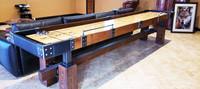 Rustic Shuffleboard Table designed by KUSH Shuffleboard.