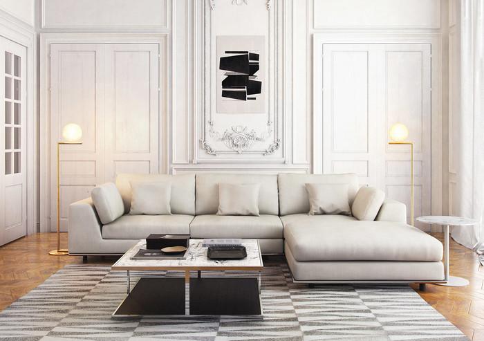 Perry Three Seat Sofa w Ottoman