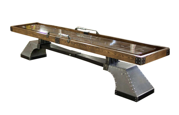 Nine Pin Shuffleboard Table by KUSH Shuffleboard. Industrial Steel Designed Game Tables at Sawyer Twain.
