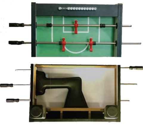 Under and overtop views of a foosball table