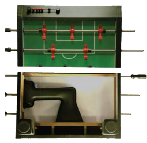 Above and underneath a foosball table