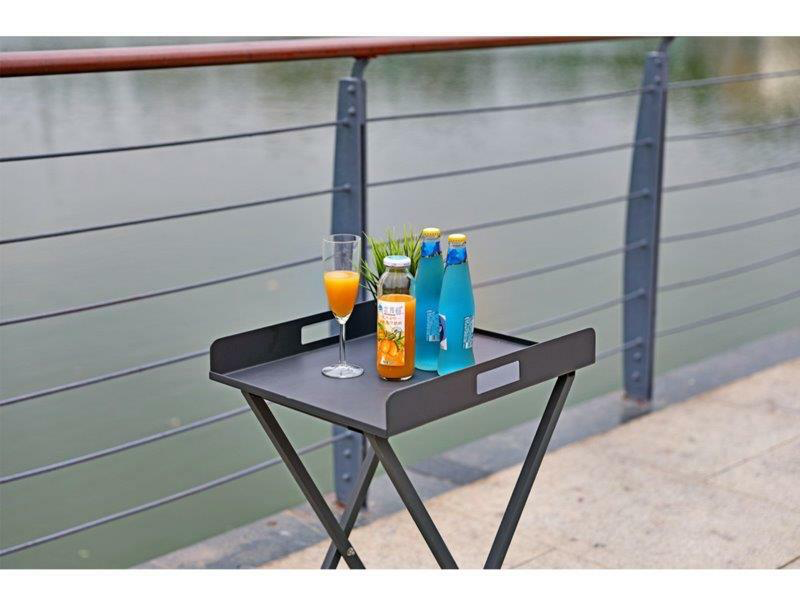 aluminum outdoor side table with drinks on it