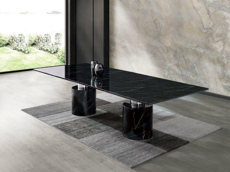 black marble and stainless steel dining table