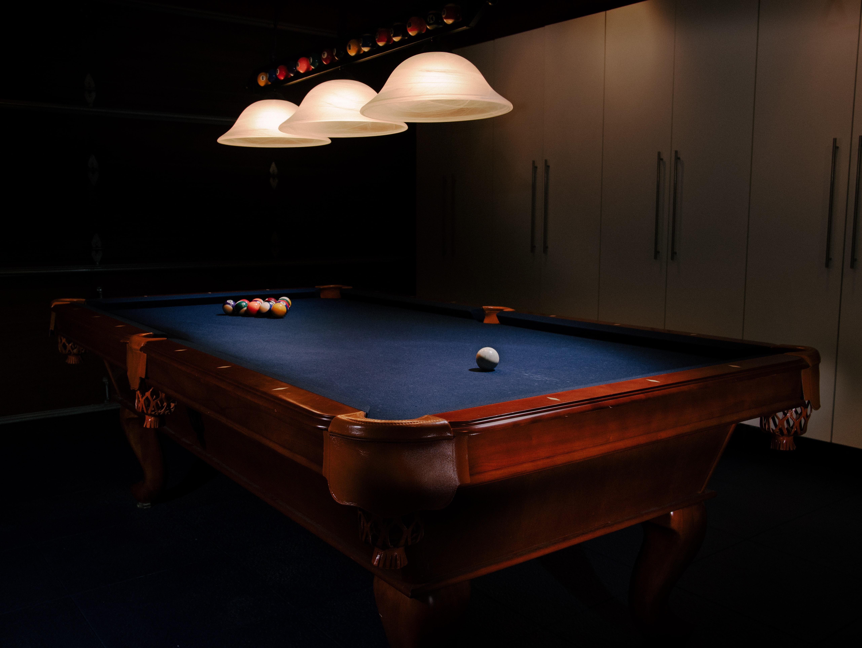 Dimly lit pool table