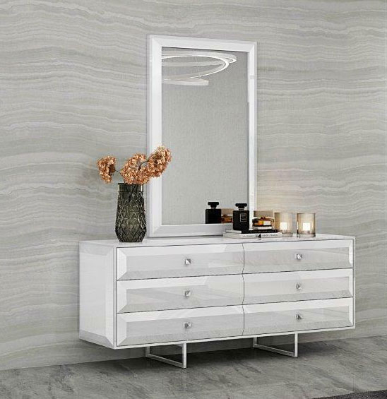 double dresser with large vertical mirror