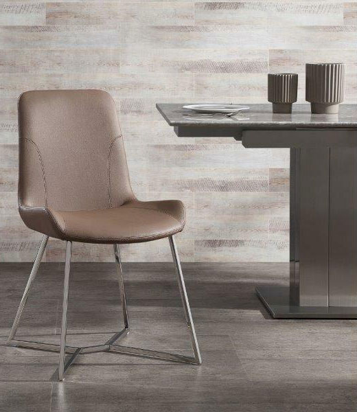 taupe faux leather and stainless steel dining room chair by square table