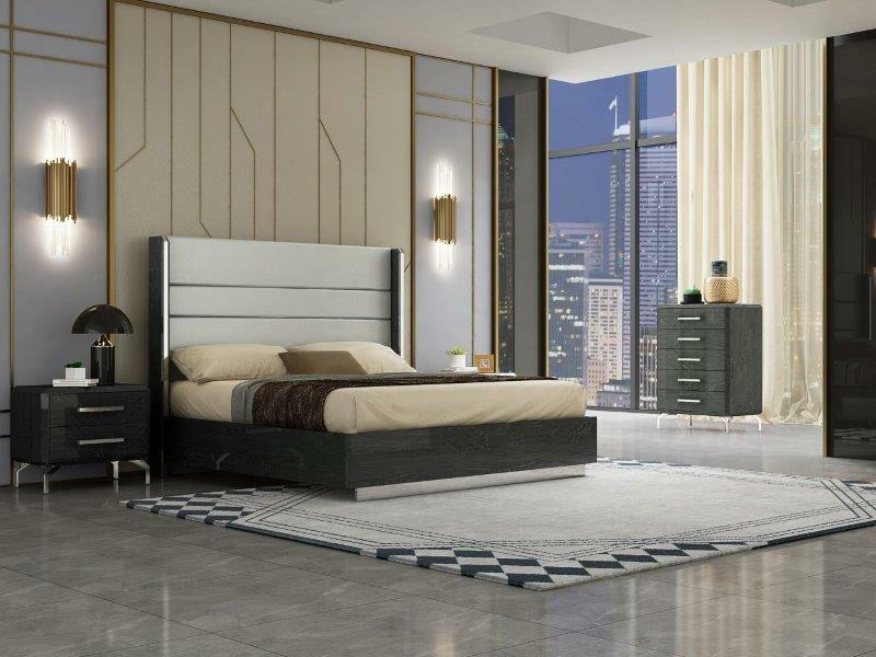 modern bedroom with queen bed and grey furniture