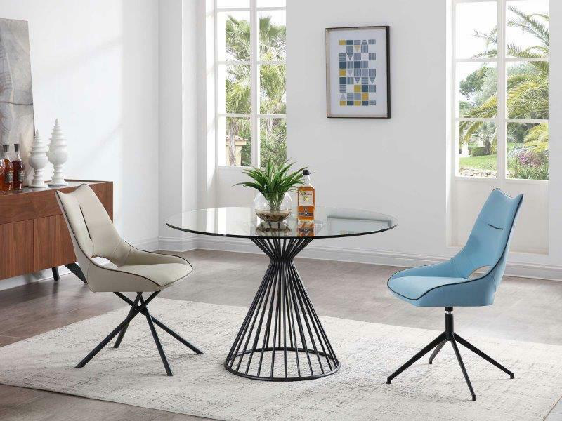 round, glass top dining table with a iron base plus two dining chairs
