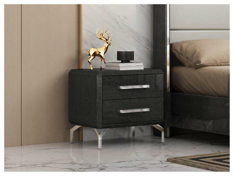 short black nightstand with silver accents