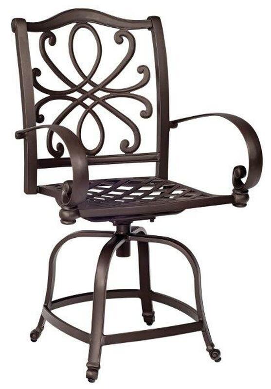 aluminum swivel bar stool in aztec bronze color