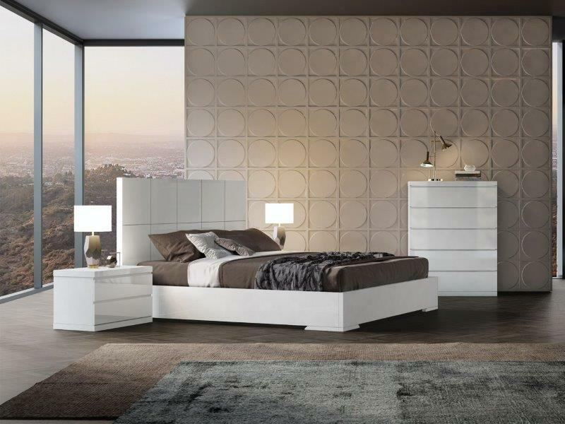 white king bed with matching dresser and nightstand