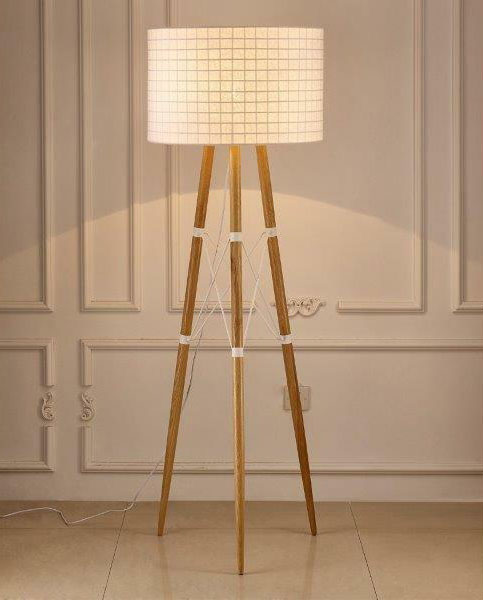 floor lamp with wooden frame and white shade