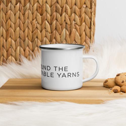 knit. crochet. together. Enamel Mug