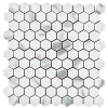 "Calacatta Gold Italian Marble 1"" Hexagon Mosaic Tile Honed"