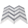 Bianco Carrara Chevron Mosaic Tile with Bardiglio Gray Strips Honed