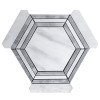 "Carrara Marble Hexagon 6"" with Bardiglio Gray Strips Mosaic Tile Honed"