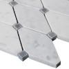 Carrara White Italian Marble Long Octagon Rhomboid Mosaic Tile with Bardiglio Gray Honed