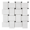 Dolomiti White Marble Italian Bianco Dolomite Large Basketweave Mosaic Tile with Nero Marquina Black  Dots Polished