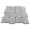 Bianco Carrara Basketweave Mosaic Tile with Bardiglio Grey Dots Honed