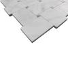 White Carrera Marble Bianco Carrara Basketweave Mosaic Tile with Bardiglio Gray Dots Honed