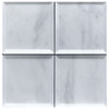"Carrara Marble 4"" x 4"" Wide Bevel  Tile Polished"