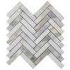 "Calacatta Gold Italian Marble 1"" x 4"" Herringbone Mosaic Tile Honed"