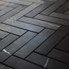 """Nero Marquina Black Marble 1"""" x 4"""" Herringbone Mosaic Tile Polished"""