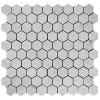 "Italian White Carrera Marble Bianco Carrara 1"" Hexagon Mosaic Tile Polished"
