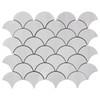 Bianco Dolomite Marble Fish Scale Fan Shaped Sea Shell Mosaic Tile Polished