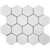 "Bianco Dolomite Marble 3"" Hexagon Mosaic Tile Polished"