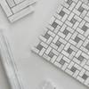 Honed Carrara White Italian Marble Target Pinwheel Mosaic Tile with Bardiglio Gray Dots
