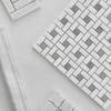 Honed Bianco Dolomiti Marble Target Pinwheel Mosaic Tile with Bardiglio Gray Dots