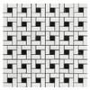 Bianco Dolomiti Marble Target Pinwheel Mosaic Tile with Nero Marquina Black Dots Polished