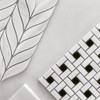 Polished Bianco Dolomiti Marble Target Pinwheel Mosaic Tile with Nero Marquina Black Dots